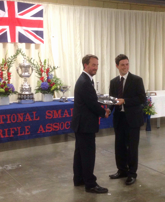 Photograph shows Richard Hemingway (pictured right) receiving the Kent Salver for winning the 'Centenary Competition in A-Class'.