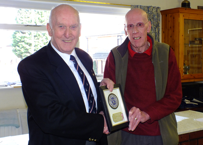 Photograph shows SSRA Vice-President - Fred Jennings (pictured left) - presenting a special award for 'Services To Air Weapons Shooting' to the retiring SSRA Air Weapons Secretary and newly elected SSRA Vice-President - Robert Knott (pictured right).