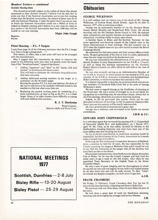Edward John Chipperfield obituary, which was published in the Rifleman Magazine, dated April 1977.