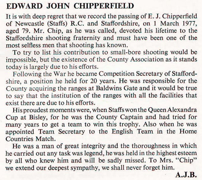 Cropped section of the Edward John Chipperfield obituary, which was published in the Rifleman Magazine, dated April 1977.