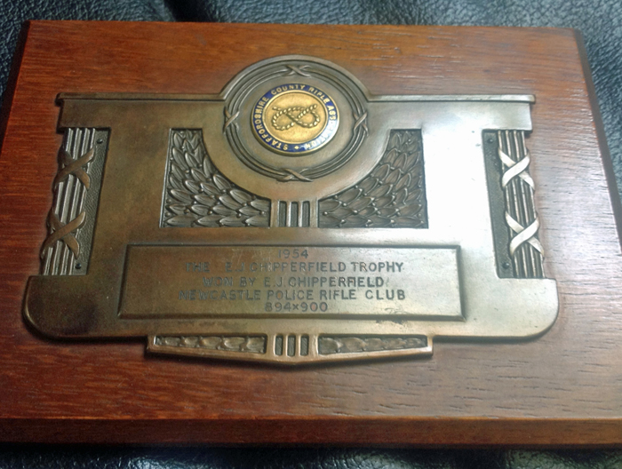Photograph shows The E.J. Chipperfield Trophy Winner's Plaque 1954.