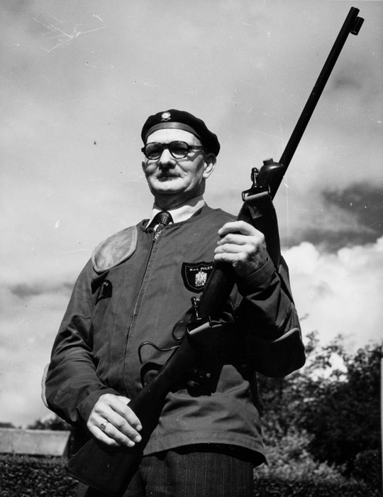 Photograph shows Edward John Chipperfield with his trusty rifle.