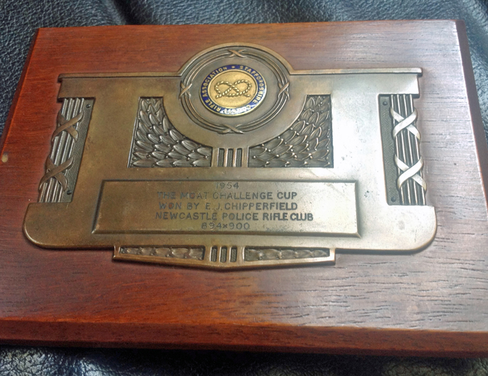 Photograph shows The Moat Cup Winner's Plaque 1954.