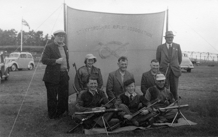Photograph shows members of the Staffordshire Smallbore Rifle Team, pictured at Bisley - possibly during the 1950's.