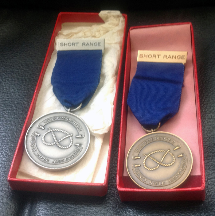 Photograph shows two Staffordshire County Rifle Association Short Range Medals, which were awarded to E.J. Chipperfield - (dates uncertain).