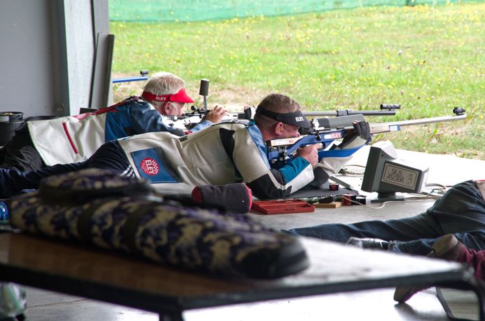 Photograph shows Martyn Buttery, pictured right, competing in the Champion of Champions Competition 2014 at Bisley.