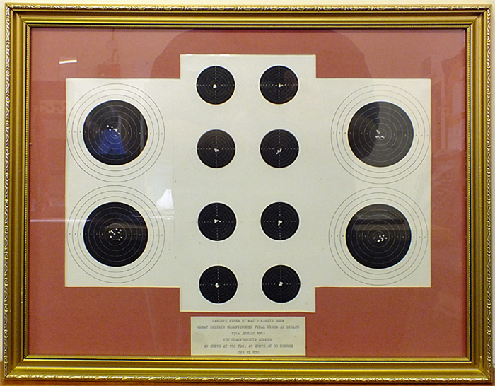 Photograph shows a series of smallbore rifle targets, shot by Major Peter Martin, D.E.R.R., at the Great Britain Championships at Bisley on 15th August 1981.
