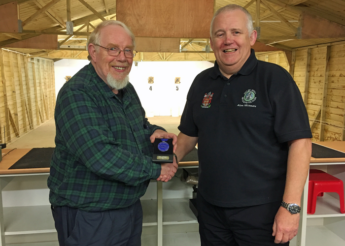 Photograph shows Bryan Hempstead (pictured left) receiving the SSRA Individual Air Pistol League - Summer 2018 - 2nd Place Medal from Alan Whitmore (pictured right).