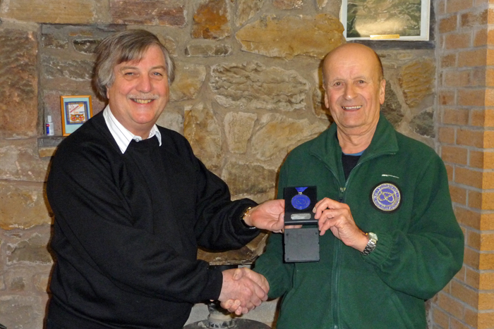 Photograph shows SSRA Airgun Secretary - Osborn Spence (pictured left) presenting Leek and District shooter Alf Whiston (pictured right) with his SSRA Individual Air Rifle 'B' League - Winter 2017/2018 - Second Place Medal.