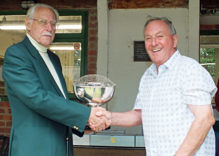 Photograph shows M. Willcox, pictured right, receiving The K. Madeley Rose Bowl for 2014 from SSRA President - Major (Retired) Peter Martin, MBE.