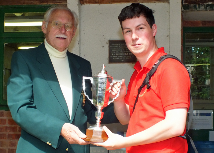 Photograph shows R. Hemmingway, pictured right, receiving The Albert Greatrex Cup for 2014 from SSRA President - Major (Retired) Peter Martin, MBE.