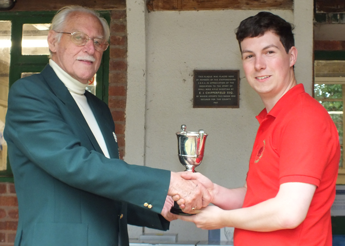 Photograph shows R. Hemmingway, pictured right, receiving The Association Cup for 2014 from SSRA President - Major (Retired) Peter Martin, MBE.