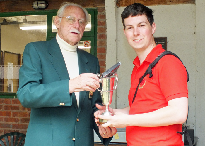 Photograph shows R. Hemmingway, pictured right, receiving the Miniature Rifle Challenge Cup for 2014 from SSRA President - Major (Retired) Peter Martin, MBE.