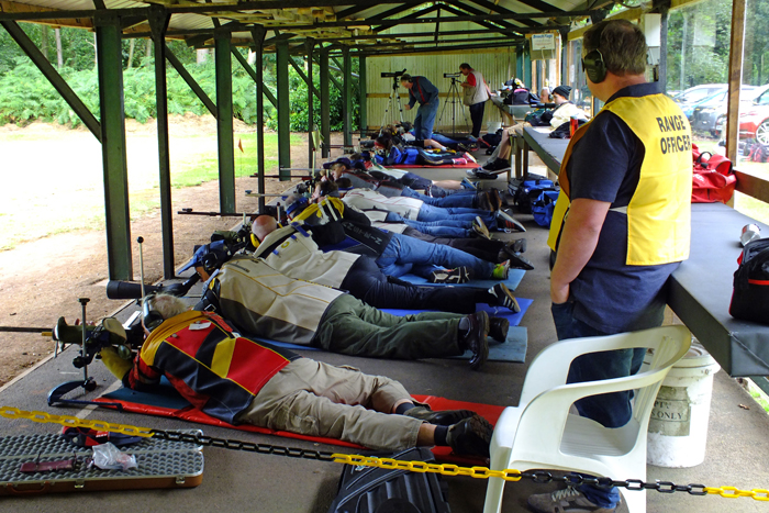 Photograph shows competitors giving it their all on the firing line at the Staffordshire SRA Combined Open Squadded Rifle Meeting 2016.