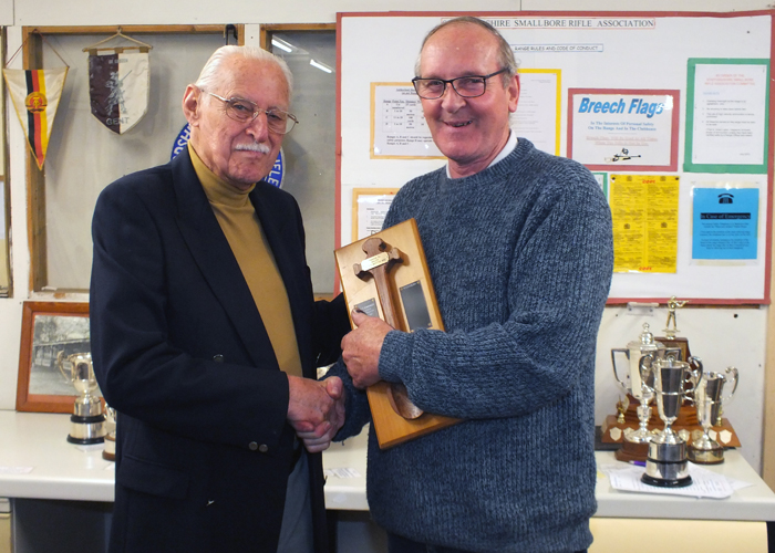 Photograph shows SSRA President - Major (Retired) Peter Martin MBE, pictured left - presenting the Wooden Spoon to Gordon Abbotts, pictured right.