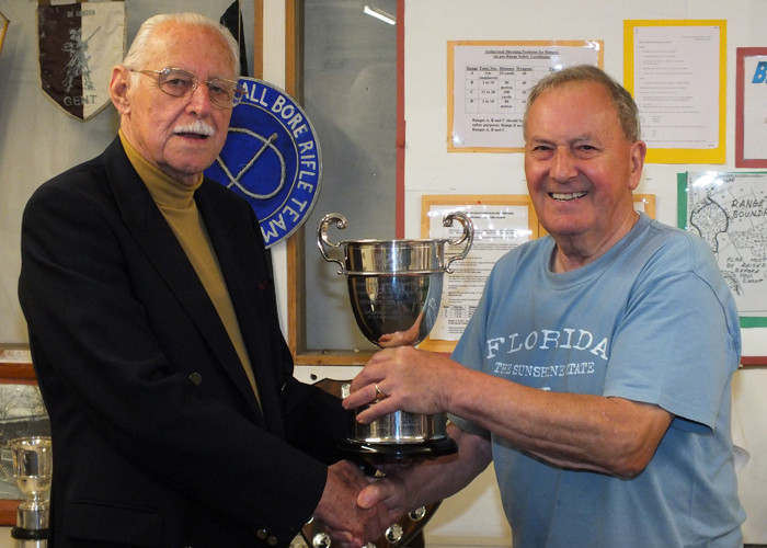 Photograph shows SSRA President - Major (Retired) Peter Martin MBE, pictured left - presenting the R.W. De Nicolas Memorial Trophy to Mike Willcox, pictured right.