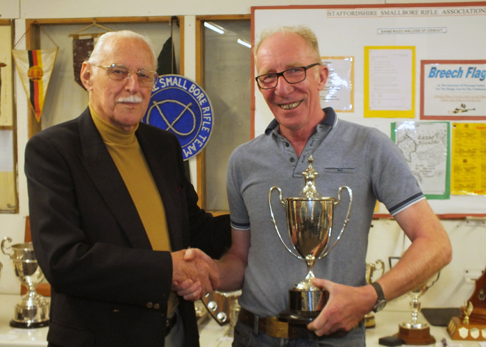 Photograph shows SSRA President - Major (Retired) Peter Martin MBE, pictured left - presenting the Michelin Cup to Steve Rowe, pictured right.