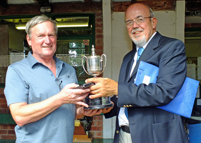 Photograph shows SSRA Chairman - Richard Tilstone (pictured right), presenting the Chipperfield Cup and Medal to Alan Boyles (pictured left).