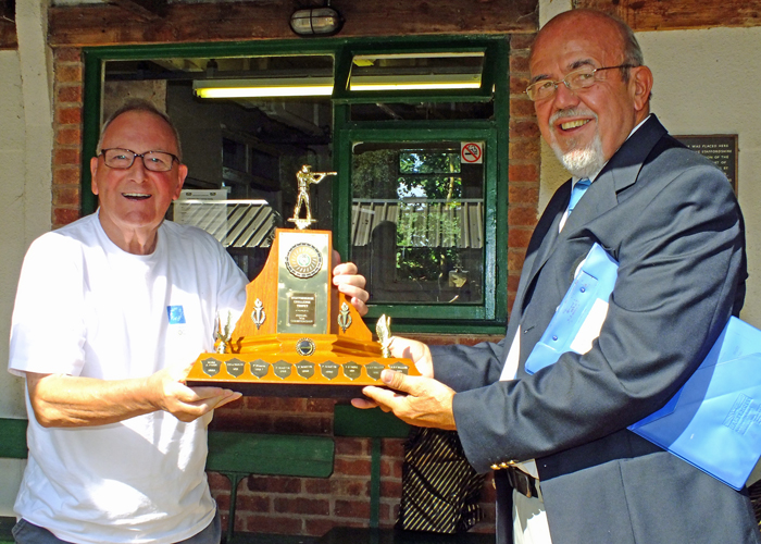 Photograph shows SSRA Chairman - Richard Tilstone (pictured right), presenting the 50 Metres Trophy to Mike Willcox (pictured left).