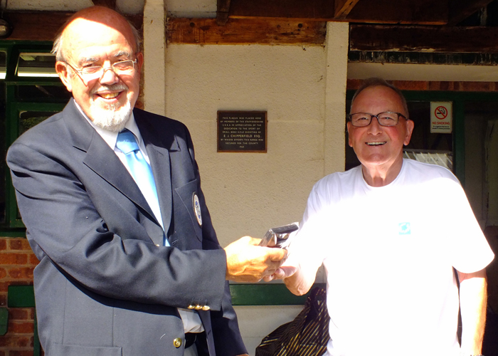 Photograph shows SSRA Chairman - Richard Tilstone (pictured left), presenting Medal to Mike Willcox (pictured right).