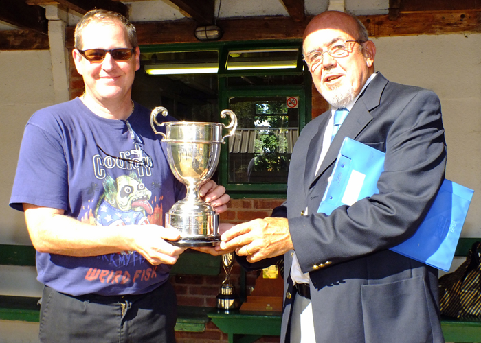 Photograph shows SSRA Chairman - Richard Tilstone (pictured right), presenting the R.W. De Nicolas Memorial Trophy to Paul Baron (pictured left).