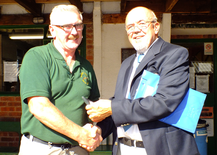 Photograph shows SSRA Chairman - Richard Tilstone (pictured right), presenting Medal to Peter Dean (pictured left).