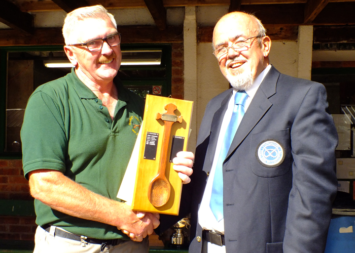 Photograph shows SSRA Chairman - Richard Tilstone (pictured right), presenting the Wooden Spoon to Peter Dean (pictured left).
