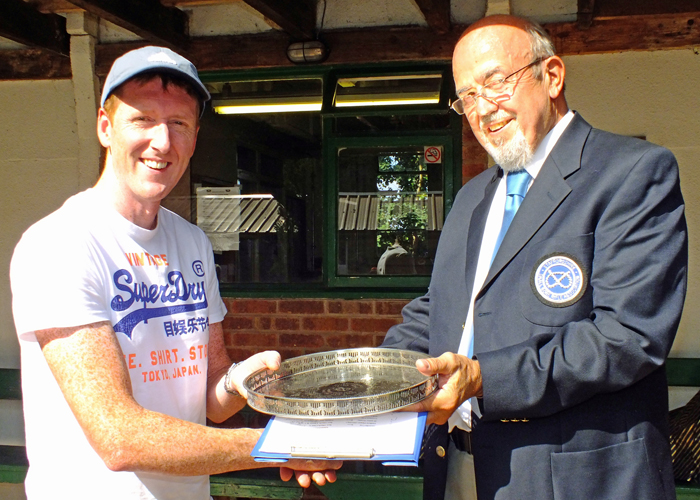 Photograph shows SSRA Chairman - Richard Tilstone (pictured right), presenting the 'Come Day - Go Day' Salver to Simon Green, (pictured left).