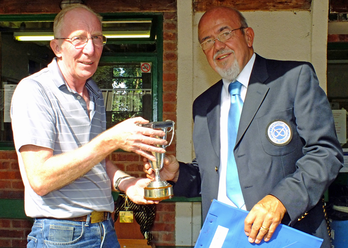 Photograph shows SSRA Chairman - Richard Tilstone (pictured right), presenting the Miniature Rifle Cup to Steve Rowe (pictured left).