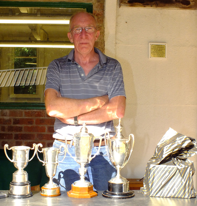 Photograph shows Steve Rowe proudly displaying his impressive collection of Staffordshire Confined Trophies won at the SSRA Combined Open Squadded Rifle Meeting 2018.