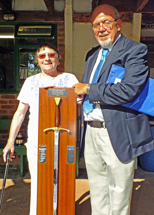 Photograph shows SSRA Chairman - Richard Tilstone (pictured right), presenting the Wilkinson Sword to SSRA Secretary - Sue Willcox (pictured left).