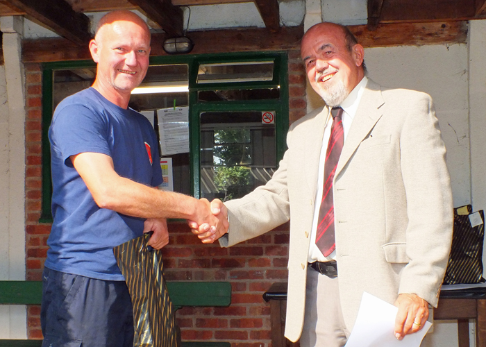 Photograph shows Paul Watkiss (pictured left) receiving the Class 'C' 3rd Place Open Prize 2019 from SSRA Chairman - Richard Tilstone (pictured right).