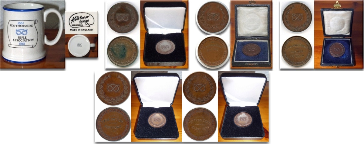 The above photographic montage shows a selection of Staffordshire County Association Medals, and a ceramic Staffordshire Rifle Association Centenary Mug.