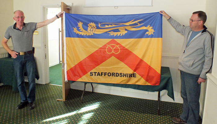 Photograph shows SSRA Committee Members Steve Rowe (pictured left) and County Captain Dave Glover (pictured right) proudly display the new Staffordshire Smallbore Rifle Association Team Banner.