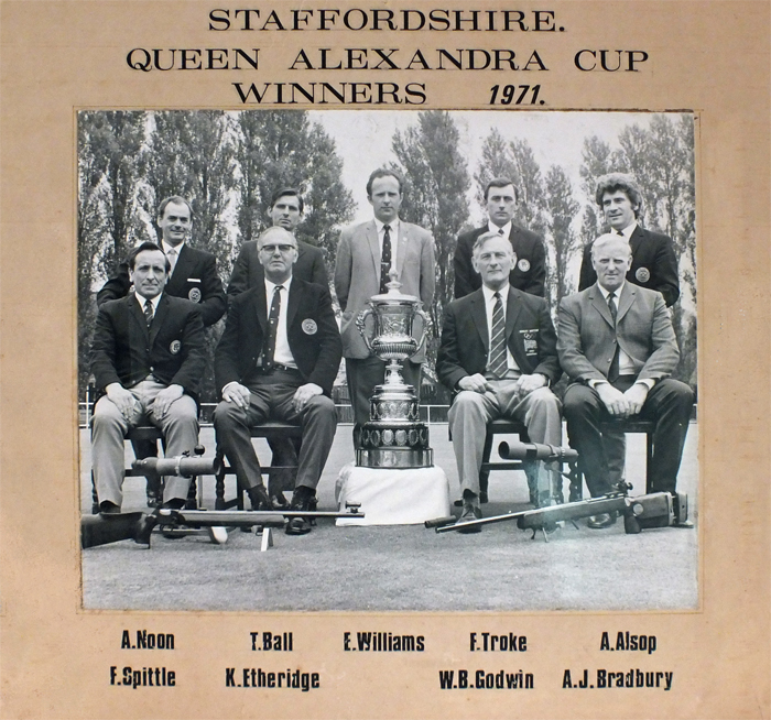 Photograph shows members of the successful Staffordshire Smallbore Rifle Team, as they proudly display the Queen Alexandra Cup in 1971 at Bisley.