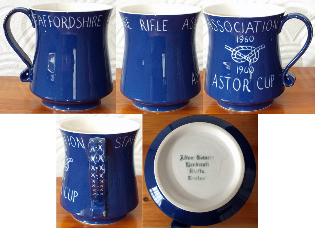 Photograph shows multiple views of the ceramic Staffordshire Rifle Association Astor Cup 1960.